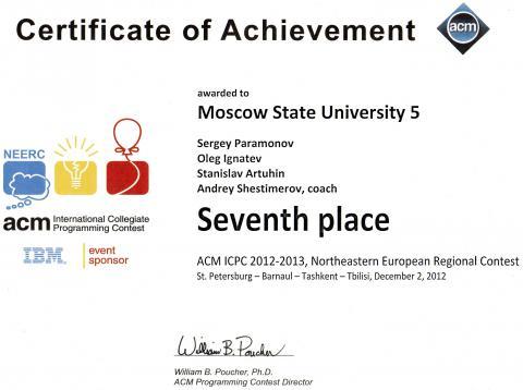 Седьмое место полуфинала чемпионата мира по программированию (NEERC ACM ICPC)