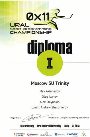 Диплом I степени чемпионата Урала по спортивному программированию